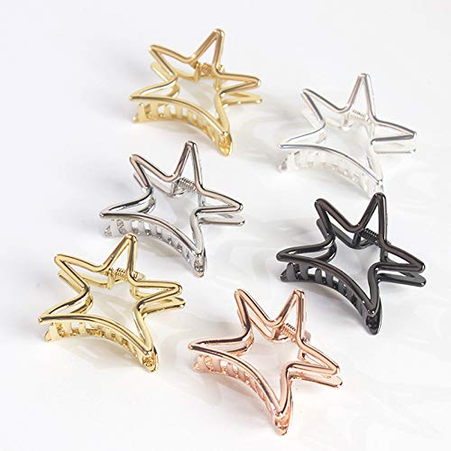 Weimay Hairpin Five-Pointed Star Shape Ponytail Clip Hollow Alloy Women Hairpin Hair Accessories by Weimay (Image #8)