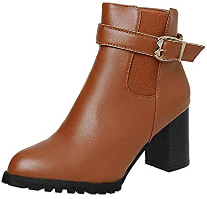 86e59f7a929 HhGold Botas Cortas de otoño Invierno de Mujer Zapatos de tacón Alto Botas  Martin Botas de Tobillo Zapatos (Color   Marrón
