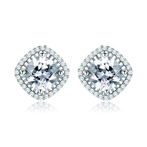 MASOP Cubic Zirconias 8mm Stud Earrings Screw Back Women Fashion Wedding Engagement Jewelry