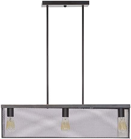 Globe Electric 65019 Rebecca 3-Light Pendant, Satin Black, Linear Metal Mesh Shade