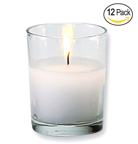Candle Holder Glass Votive for Wedding, Birthday, Holiday & Home Decoration by Royal Imports, Shot Glass, Set of 12 - wax filled (Holder Mini Candle)