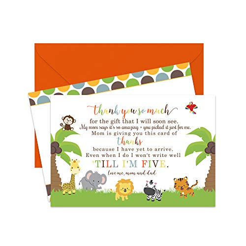 (Jungle Baby Shower Thank You Cards and Envelopes (Set of 15) Cute Animal)