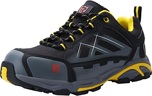 LARNMERN Work Steel Toe Shoes for Men Lightweight Anti-Static Industrial and Construction Sneakers (12, Black/Grey S3) (Best Arch Support Shoes For Men)