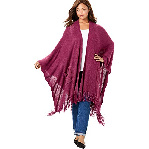 Woman Within Women's Plus Size Long Fringed Cape – Deep Cranberry, One Size