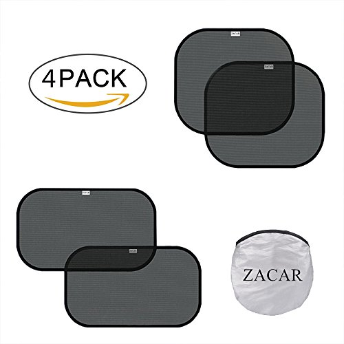 "ZACAR Car Window Shade (4 Pack),2 pack for 20""x12"" and 2 pack for 17""x15"",Cling Sunshade For Car Windows Protect your baby in the back seat from sun glare and heat. Blocks over 99% of harmful UV"