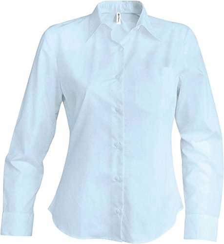 New Ladies Easycare Tee manga larga formal & casual wear suave cuello Top blanco