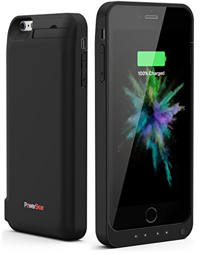 PowerBear iPhone 6 Plus / iPhone 6S Plus Rechargeable Battery Case with Built in USB PowerBank with 7800mah Capacity (Up to 250% Extra Battery) - Black [24 Month Warranty]