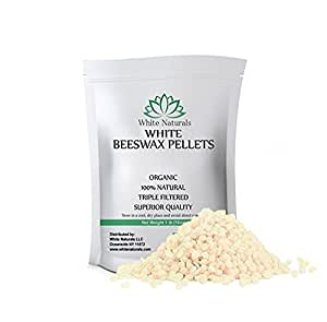 Organic White Beeswax Pellets 1 lb (16 oz), Pure, Natural, Cosmetic Grade, Top Quality Bees Wax Pastilles, Triple Filtered, Great For DIY Lip Balms, Lotions, Candles By White Naturals