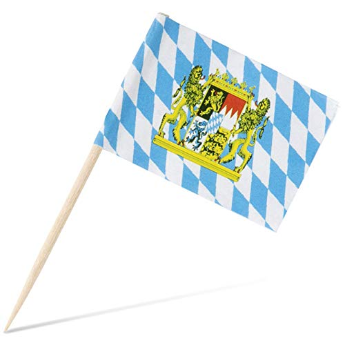 Oktoberfest Cocktail Picks - 200-Pack Disposable Bavarian Flag Cupcake Topper Decoration, Theme Party Bamboo Toothpicks, Blue and White, 2.6 x 1.6 Inches -