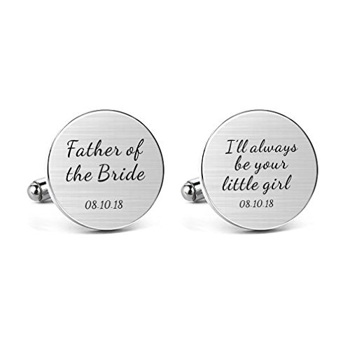 MUEEU Father of The Bride Cufflink Engraved I Will Always Be Your Little Girl Round Cuff Links