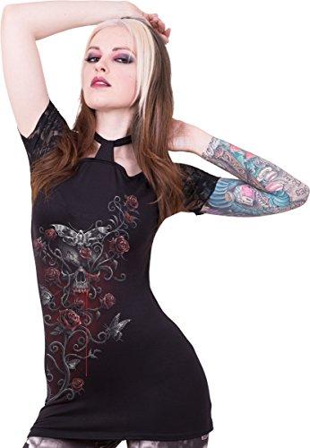 Spiral Damen Top Totenkopfschwärmer , mit Neckholder zum Verknoten und Spitzenstoff an den Schultern