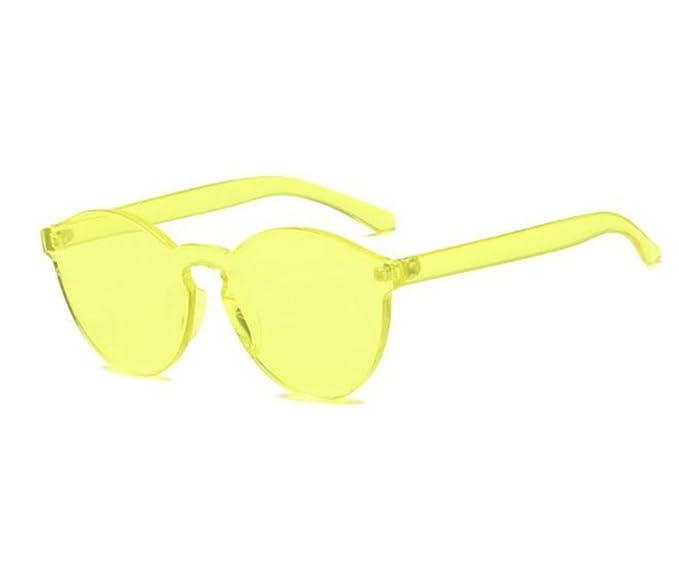 Gafas de sol redondas de color caramelo no polarizadas sin montura Gafas de personalidad