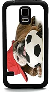Rikki KnightTM English Bulldog Puppy Sports Design Samsung? Galaxy S5 Case Cover (Black Rubber with front Bumper Protection) for Samsung Galaxy S5 i9600