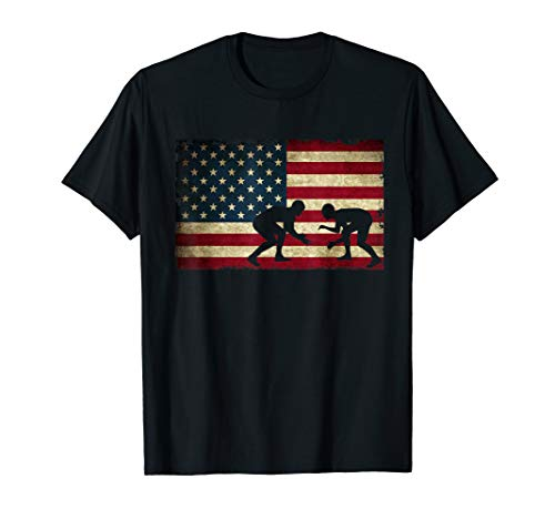 American Flag Wrestling - Cool USA Wrestle Gift Tee for Fans T-Shirt