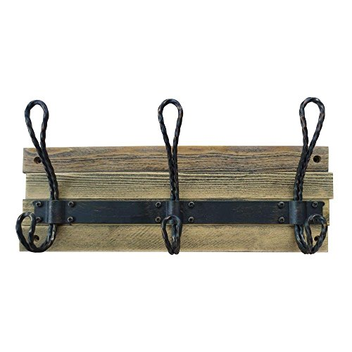 14 in. Matte Black 3-Piece Hook and Rail - Antique Coat