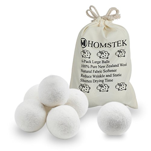 Pure Baby Natura Wool (Wool Dryer Balls by Homstek, 6 Pack, XL Size Premium Reusable Natural Fabric Softener, Reduce Clothing Wrinkles and Static, Shorten Drying Time)