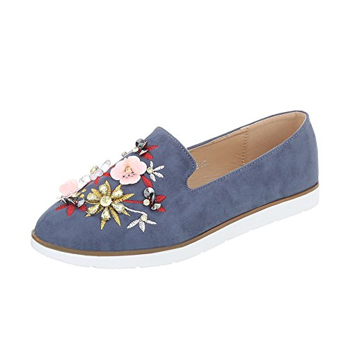 Ital-Design Women's Loafer Flats Flat Slippers Blue