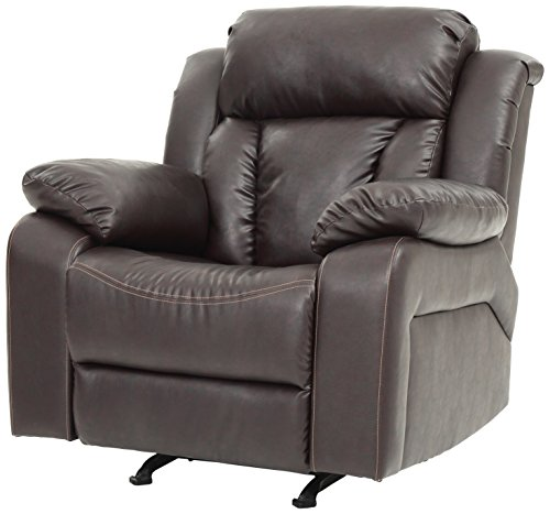 Faux Leather Rocker Recliner in Brown 801466