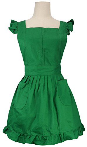 LilMents Retro Adjustable Ruffle Apron Kitchen Cooking Baking Cleaning Maid Costume (Green)