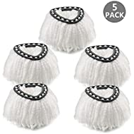 Mop Head Refill for Spin EasyWring Mop Replacement Head Microfiber, White (5 Pack)