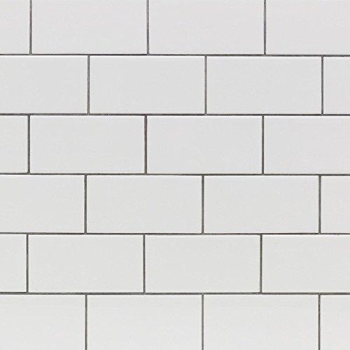 Subway Tile, Seavish White Kitchen Backsplash Tile Sticker 3D Peel and Stick Floor Wall Decal for Interior Bathroom Dinning Room Decor 7.8''W x 200''L