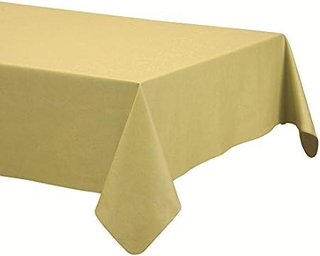 Mantel de lino-algodón anti manchas, modelo Lino natural, resinado y con Teflón de Dupont® - 100x150 - amarillo mostaza: Amazon.es: Hogar
