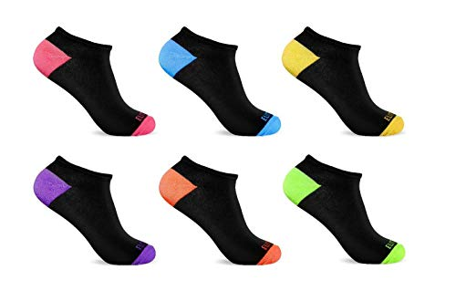 6 Pairs Ankle Socks Col.Black Neon Heel Women's Low Cut No Show Ankle Wholesale lot 9-11 Shoes Accessories Socks for Women Needed from funfashion