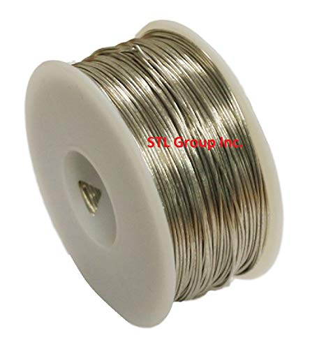 STL Group Inc 18 AWG Bare Tinned Copper Wire, Bus Wire 1/2 Lb Spool 100 Ft.