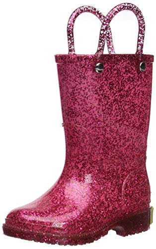 Pink Glitter Boots (Western Chief Girl's Glitter Waterproof Rain Boot, Pink, 8)