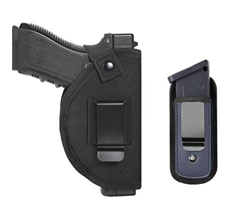 Tenako Universal Gun Holster Magazine Pouch for Right Left IWB OWB Hand Inside Concealed Carry Holster for Single Double Stack Mags S&W M&P Shield Glock 17 19 23 25 26 27 29 30 32 42 43 Springfield