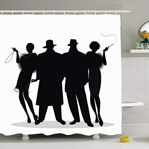 (Ahawoso Shower Curtain 60x72 Inches 20S Speakeasy Two Flapper Girls Charleston Roaring Gatsby Mafia Design Nostalgic Waterproof Polyester Fabric Bathroom Curtains Set with)