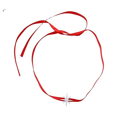 QMM necklace Pendant Rhodium Color Plating Seven Horns Star Crystal Pendant Ribbon Choker Necklace for Women Fashion Jewelry