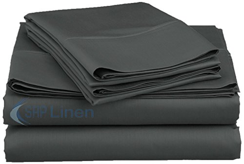 SRP Linen Bedding Hotel Collection 800 Thread Count 100% Egyptian Cotton 4PC Sheet Set 15'' Deep Pocket (California King, Dark Grey)