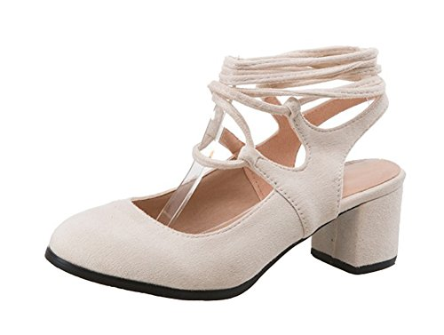 Aisun Womens Trendy Round Toe Dress Gilly Self Tie Up Stacked Medium Heels Pumps Shoes Beige FfckVs4