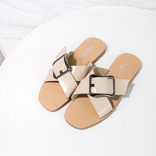 Donna Cintura XMY Donna Romano Della Fibbia apricot Sandali Infradito Spiaggia Personalità 1 Toe Sandali Da Peep Estivi 555 Tacco KJJDE IqzwaxCI