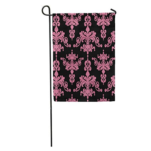 Semtomn Garden Flag Pink Abstract Damask Pattern Baroque Clip Clipart Home Yard Decor Barnner Outdoor Stand 12x18 Inches Flag