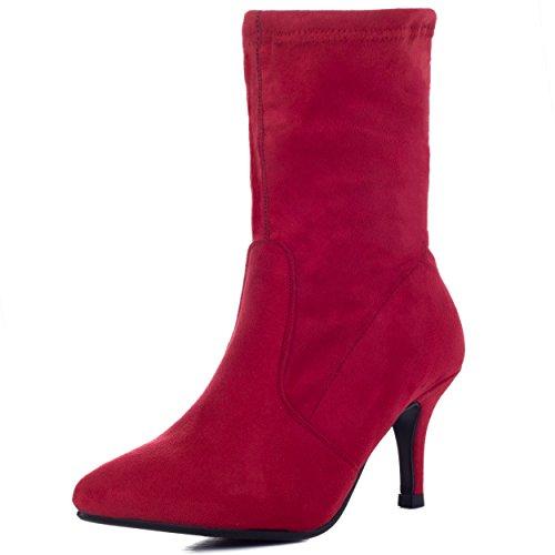 Spylovebuy Forever Chaussures Simili Bottines Daim Talon Femmes Aiguille Joy Rouge À BRqrBw