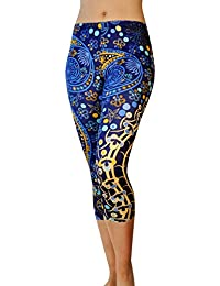 Pants - Workout Capris - High Waist Workout Leggings for Women - Lightweight Printed Yoga Legging