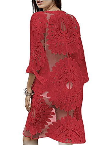 shermie Women#039s Floral Crochet Lace Beach Swimsuit Cover Ups Long Vintage Kimono Cardigan Red