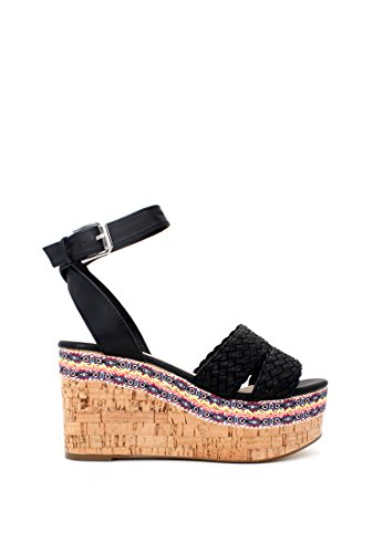 Sandals Ankle Rag London Wedge Women's Strap Black wZqAOfa6xn