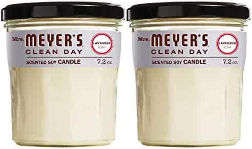 Mrs. Meyer's Clean Day Scented Soy Candle, Lavender, Candle, 7.2 ounce (Pack of 2)