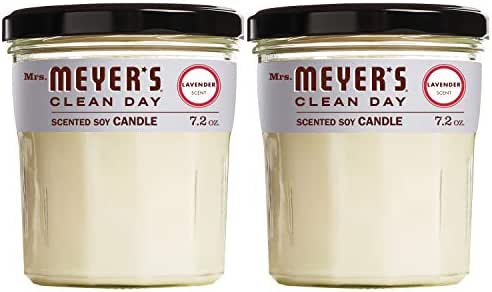Mrs. Meyer's Clean Day Scented Soy Candle, Large Glass, Lavender, 7.2 oz, 2 ct