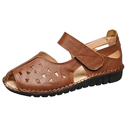 Haalife◕‿Women's Comfortable Leather Loafers Moccasins Summer Casual Walking Flat Sandal Hollow Out Fisherman Sandal Brown