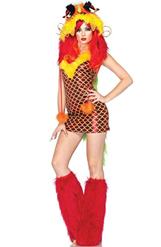 [POPLife Leg Avenue Imperial Dragon Furry Monster Adult Costume] (Red Furry Monster Costume)