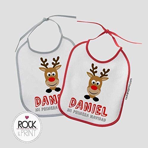 Regalos Bebe Personalizados Amazon.2 Baberos Reno Navidad Personalizado Con Nombre Tamano