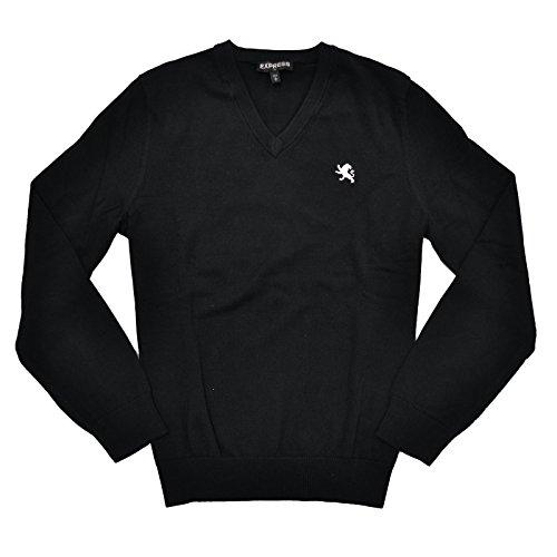 Express Men's V-Neck Logo Sweater (L, Black (Logo V-neck Sweater)