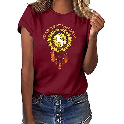 Shusuen Sunflower Print Tank Top Funny Graphic Tanks Women Crew Neck Sleeveless Tee Shirt Vest Wine from Shusuen_Clothes