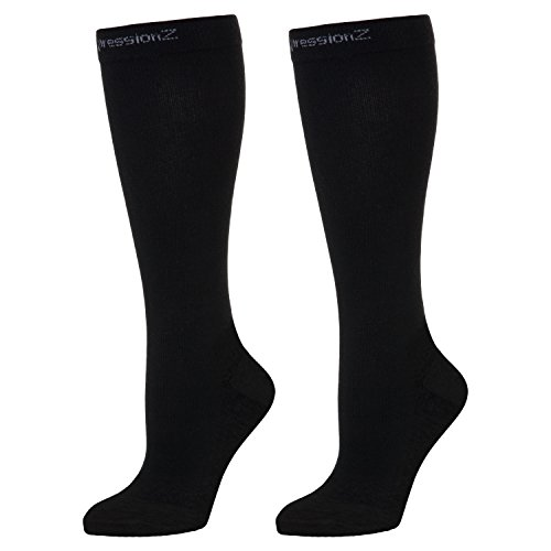 Compression Socks 30-40mmHg (1 Pair - Black M) - Best High Performance Athletic Running Socks - Men & Women