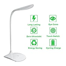 Led Desk Lamp Home Office White Night Table Lamp Dimmable Reading Lights with USB Charging Port(Touch-Sensitive Control, 3 Dimming Levels, 5 Watts, Rechargeable, Eye Protection, White Light, Energy-saving) for Bedroom/Living Room Study/Reading/Work/Relax