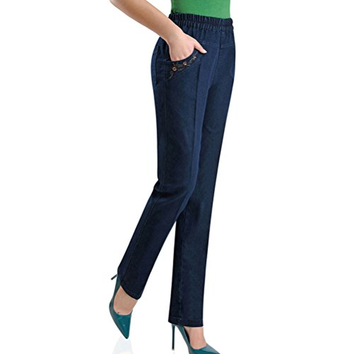 Eleganti For Taglie Pantaloni Donna Straight Vita Elasticizzati Forti Jeans Women Dark Pants Loose Stretch Zhhlaixing Ladies Blue Skinny Alta qO5AdxHwX